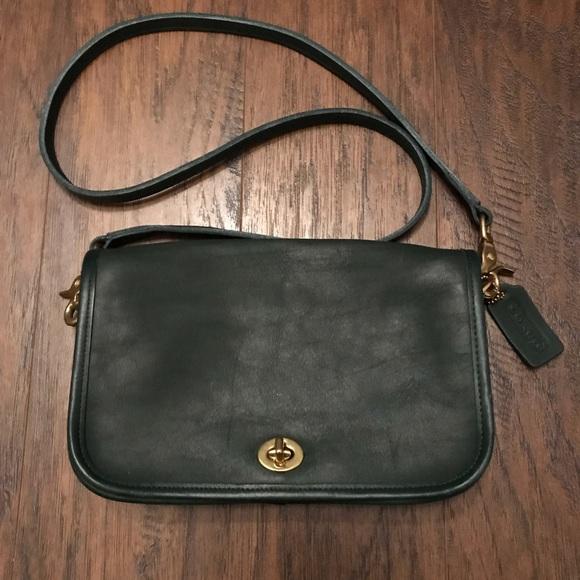 Coach Handbags - Coach 9755 Vintage Green Leather Shoulder Bag